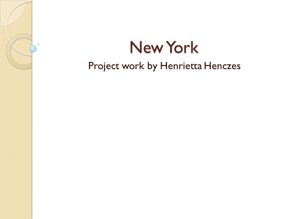 New York Project work by Henrietta Henczes