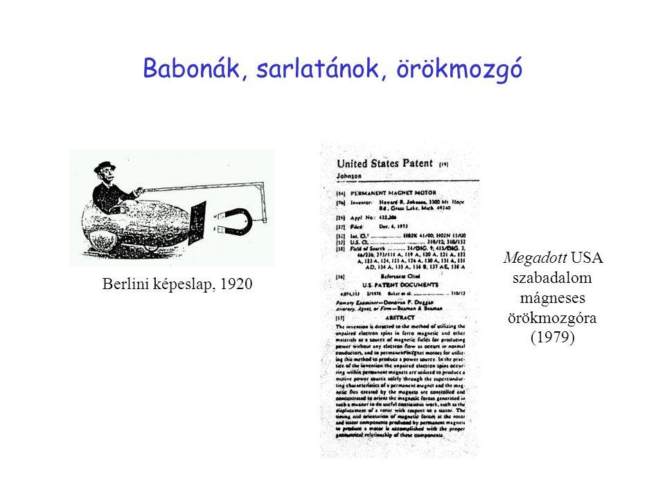 Babonák, sarlatánok, örökmozgó Berlini képeslap, 1920 Megadott USA szabadalom mágneses örökmozgóra (1979)