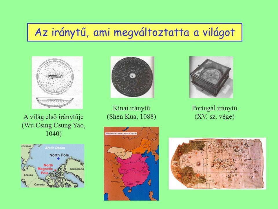 Az iránytű, ami megváltoztatta a világot A világ első iránytűje (Wu Csing Csung Yao, 1040) Kínai iránytű (Shen Kua, 1088) Portugál iránytű (XV.
