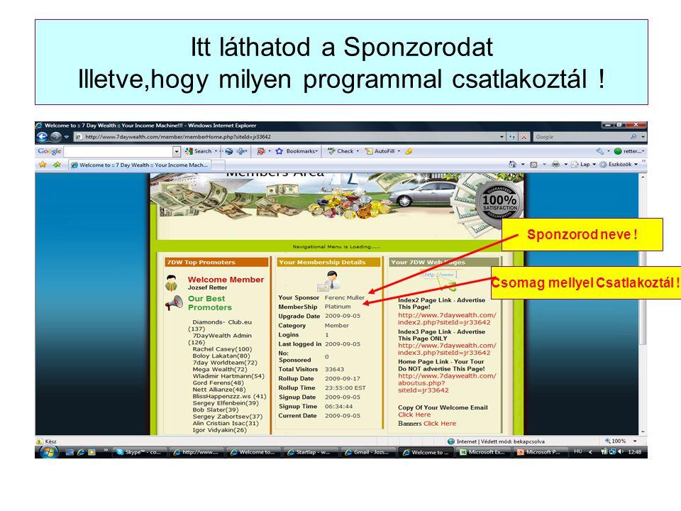 Itt láthatod a Sponzorodat Illetve,hogy milyen programmal csatlakoztál ! Sponzorod neve ! Csomag mellyel Csatlakoztál !