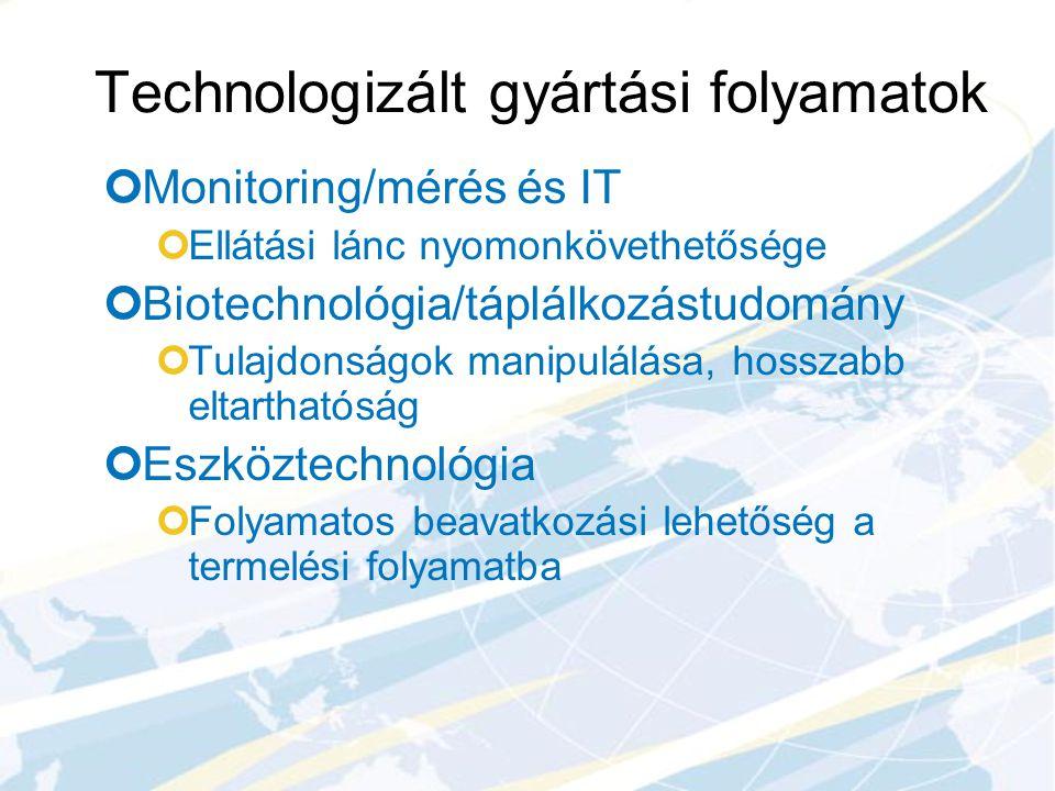 Technologizált gyártási folyamatok Monitoring/mérés és IT Ellátási lánc nyomonkövethetősége Biotechnológia/táplálkozástudomány Tulajdonságok manipulál