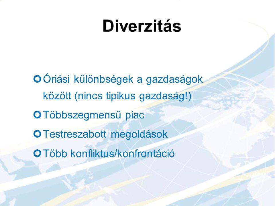 Diverzitás Óriási különbségek a gazdaságok között (nincs tipikus gazdaság!) Többszegmensű piac Testreszabott megoldások Több konfliktus/konfrontáció