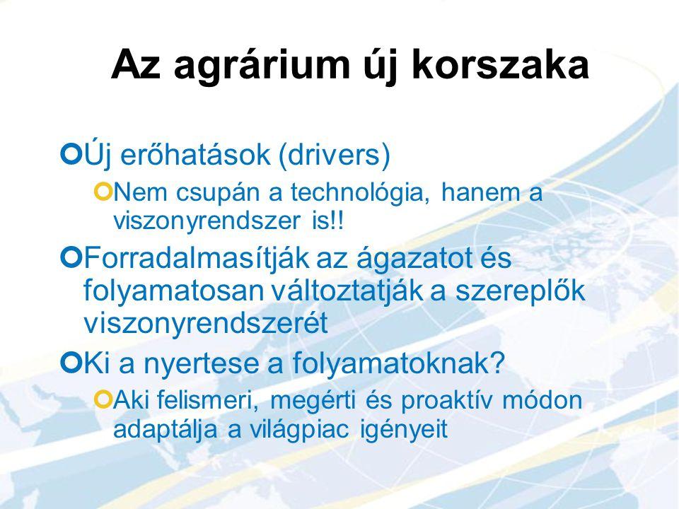 Az agrárium új korszaka Új erőhatások (drivers) Nem csupán a technológia, hanem a viszonyrendszer is!! Forradalmasítják az ágazatot és folyamatosan vá