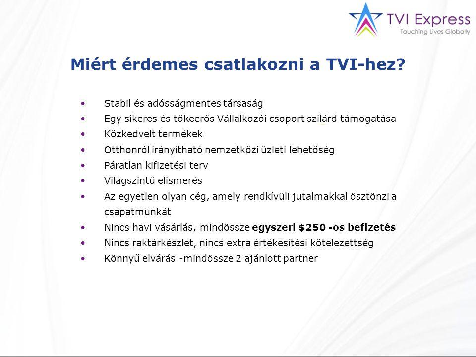 Miért érdemes csatlakozni a TVI-hez? Stabil és adósságmentes társaság Egy sikeres és tőkeerős Vállalkozói csoport szilárd támogatása Közkedvelt termék