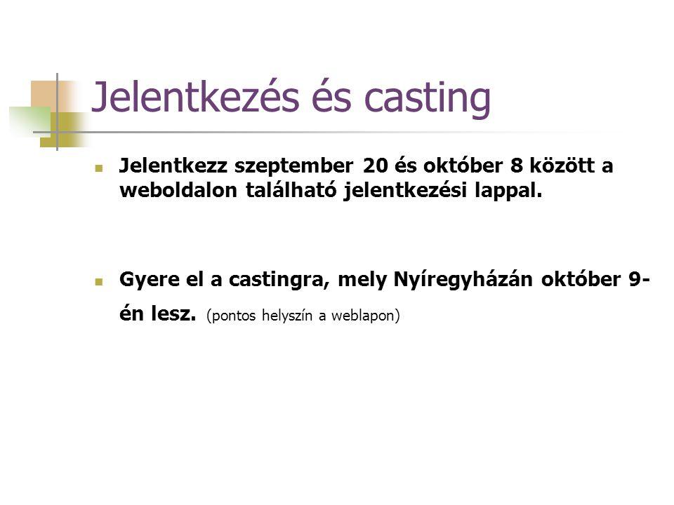 Jelentkezés és casting Jelentkezz szeptember 20 és október 8 között a weboldalon található jelentkezési lappal.