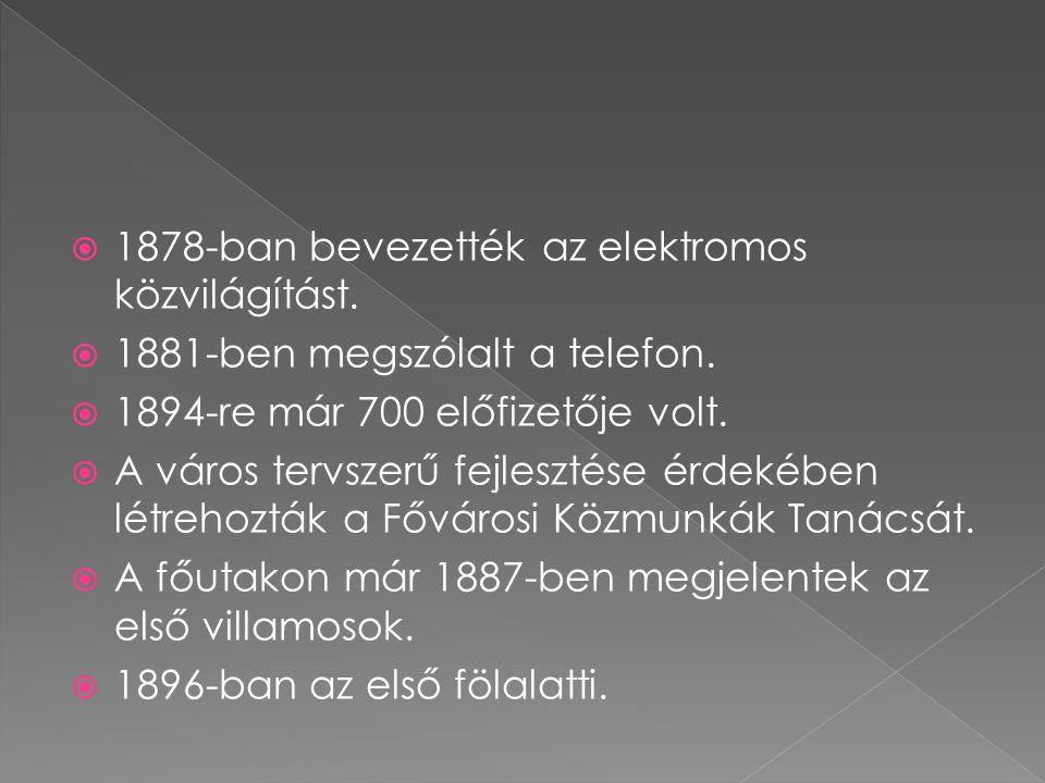  1878-ban bevezették az elektromos közvilágítást.  1881-ben megszólalt a telefon.  1894-re már 700 előfizetője volt.  A város tervszerű fejlesztés