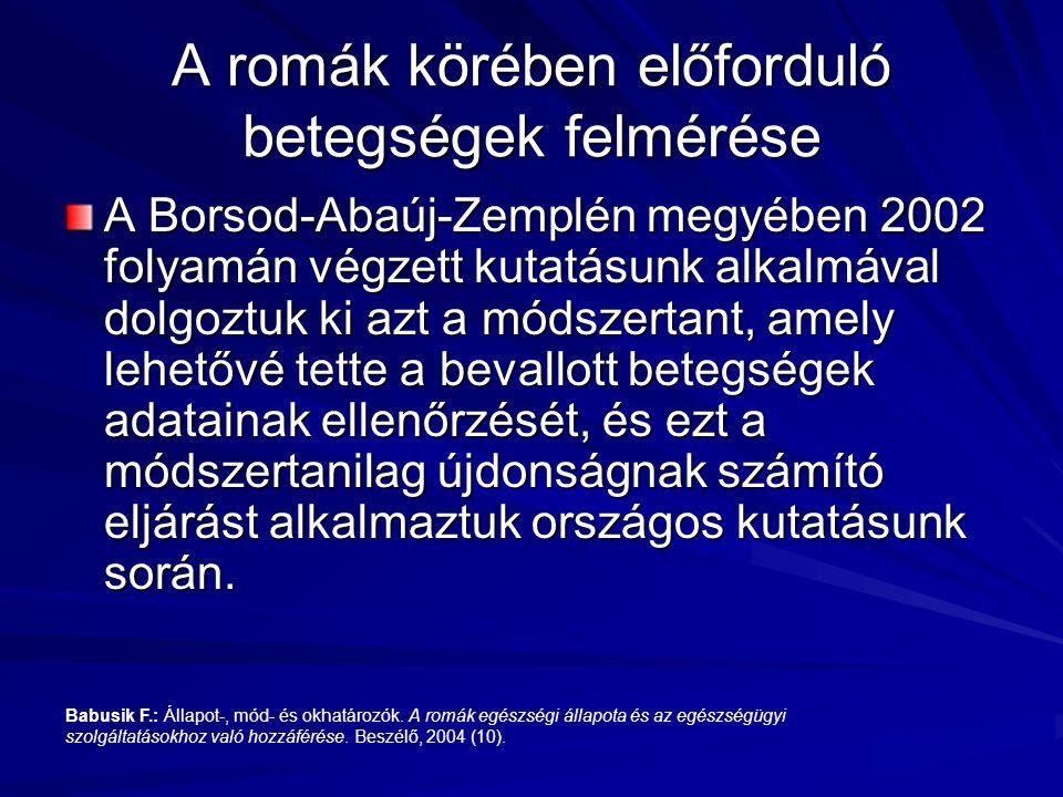 A Borsod-Abaúj-Zemplén megyében 2002 folyamán végzett kutatásunk alkalmával dolgoztuk ki azt a módszertant, amely lehetővé tette a bevallott betegsége