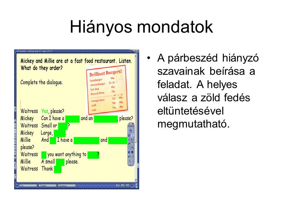 Egyszerű jelen idő A képek alatt megadott szavak felhasználásával mondatokat kell alkotni egyszerű jelen időben.