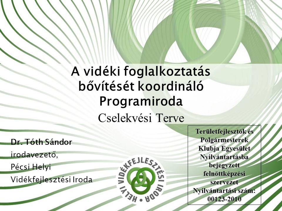 Felvezetés Prioritások vidéki munkalehetőségek bővítése, vidéki életminőség javítása.