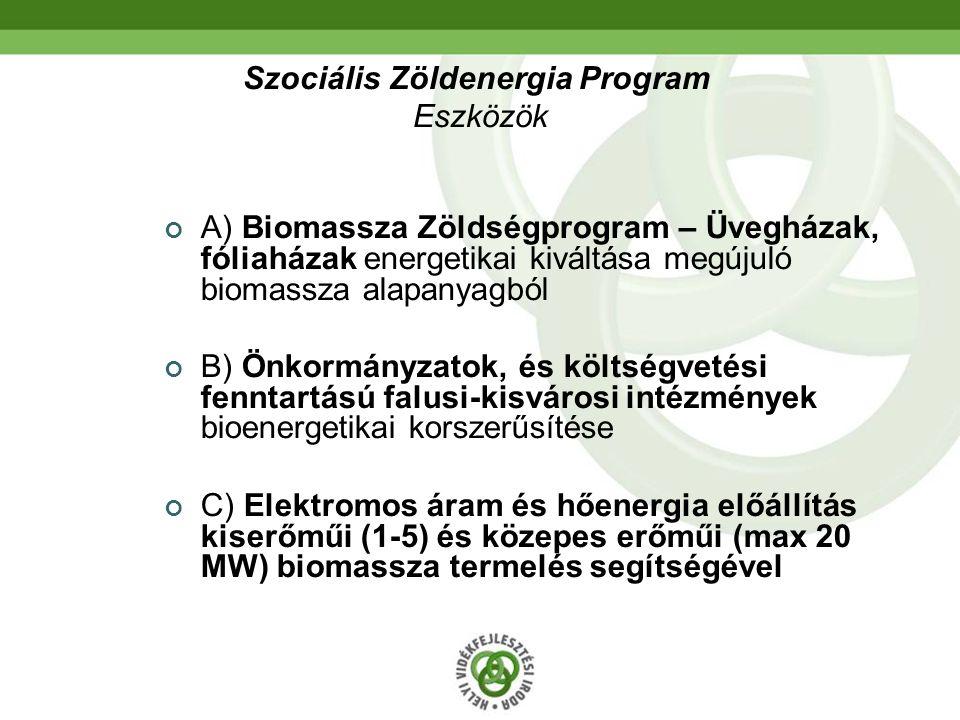 Szociális Zöldenergia Program Eszközök A) Biomassza Zöldségprogram – Üvegházak, fóliaházak energetikai kiváltása megújuló biomassza alapanyagból B) Ön