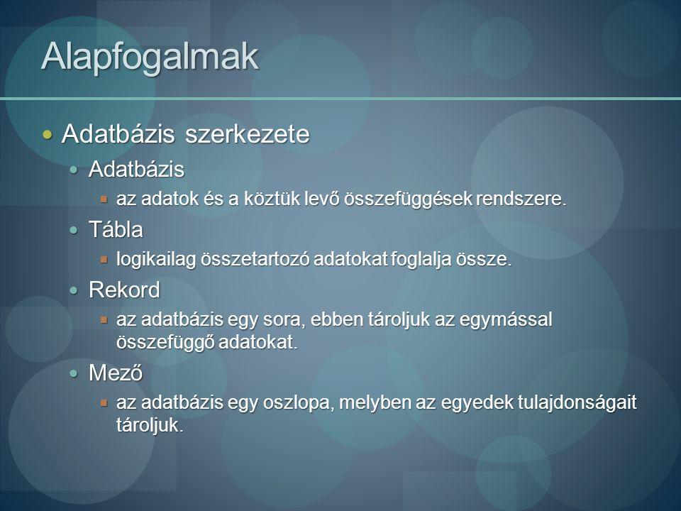 Tábla objektum - Mezőnév Mezők létrehozása Mezők létrehozása Mezőnév Mezőnév  Max.