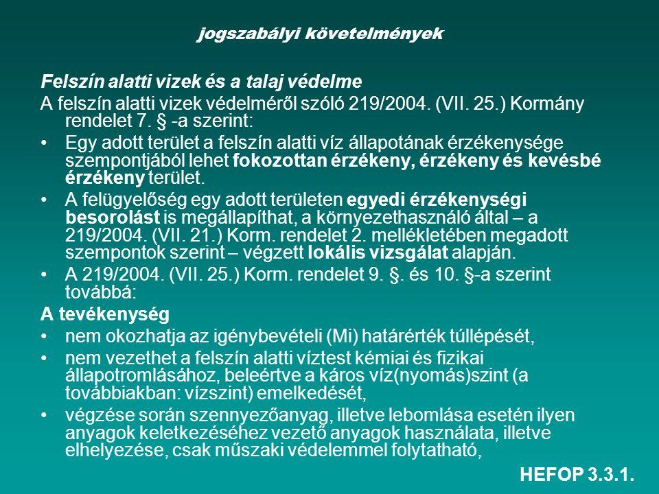 HEFOP 3.3.1. jogszabályi követelmények Felszín alatti vizek és a talaj védelme A felszín alatti vizek védelméről szóló 219/2004. (VII. 25.) Kormány re