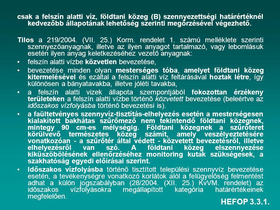 HEFOP 3.3.1. csak a felszín alatti víz, földtani közeg (B) szennyezettségi határértéknél kedvezőbb állapotának lehetőség szerinti megőrzésével végezhe