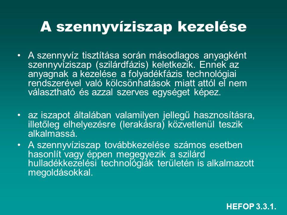 HEFOP 3.3.1. A szennyvíziszap kezelése A szennyvíz tisztítása során másodlagos anyagként szennyvíziszap (szilárdfázis) keletkezik. Ennek az anyagnak a