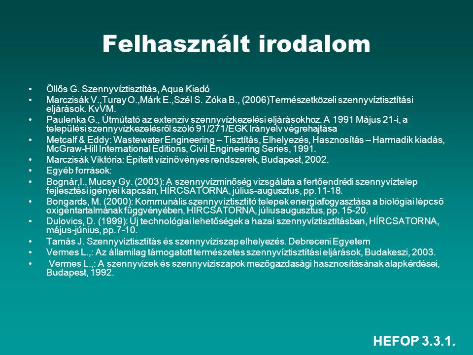 HEFOP 3.3.1. Felhasznált irodalom Öllős G. Szennyvíztisztítás, Aqua Kiadó Marczisák V.,Turay O.,Márk E.,Szél S. Zóka B., (2006)Természetközeli szennyv
