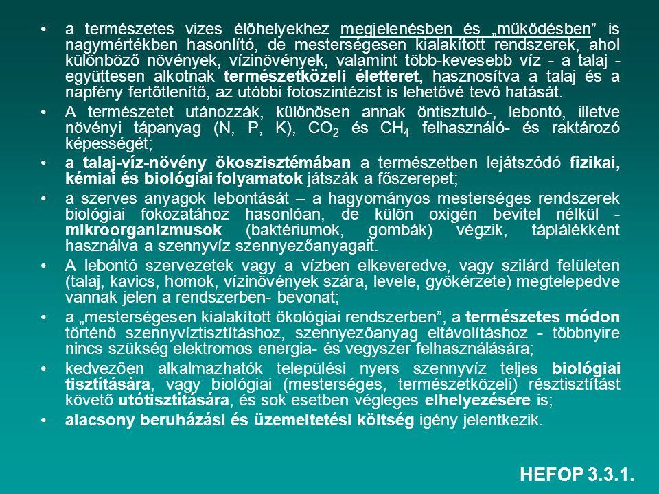 """HEFOP 3.3.1. a természetes vizes élőhelyekhez megjelenésben és """"működésben"""" is nagymértékben hasonlító, de mesterségesen kialakított rendszerek, ahol"""