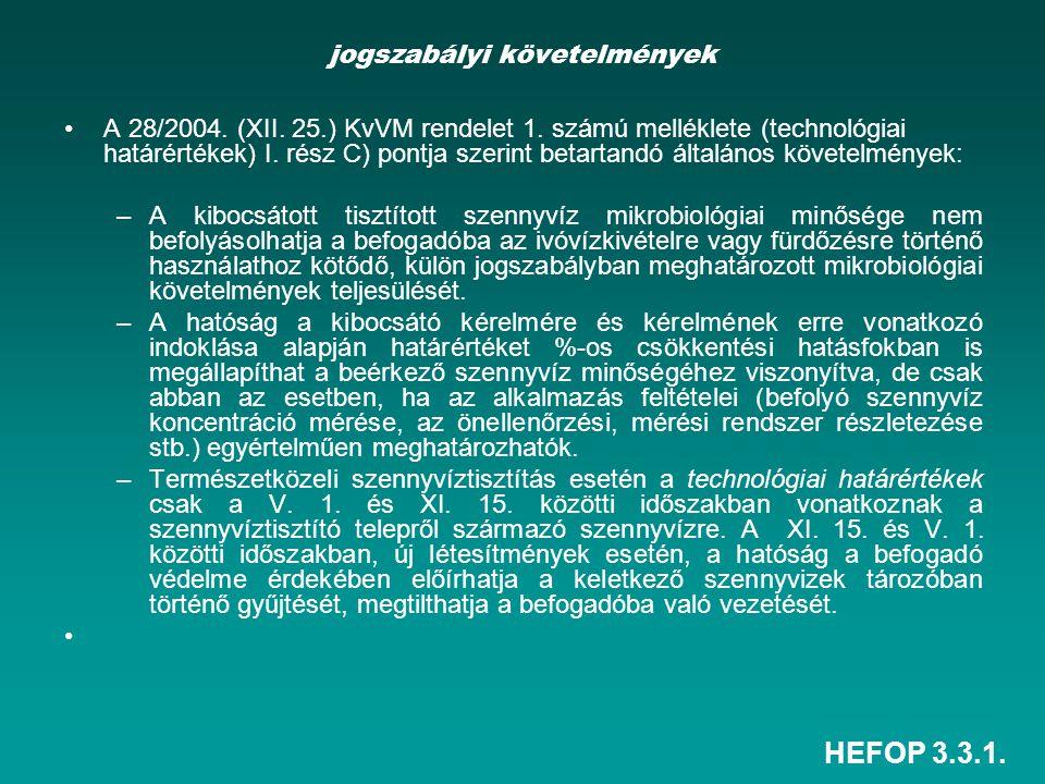 HEFOP 3.3.1. jogszabályi követelmények A 28/2004. (XII. 25.) KvVM rendelet 1. számú melléklete (technológiai határértékek) I. rész C) pontja szerint b