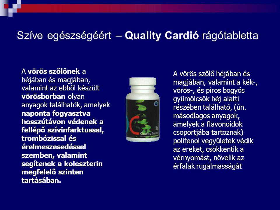 Szíve egészségéért – Quality Cardió rágótabletta A vörös szőlőnek a héjában és magjában, valamint az ebből készült vörösborban olyan anyagok található