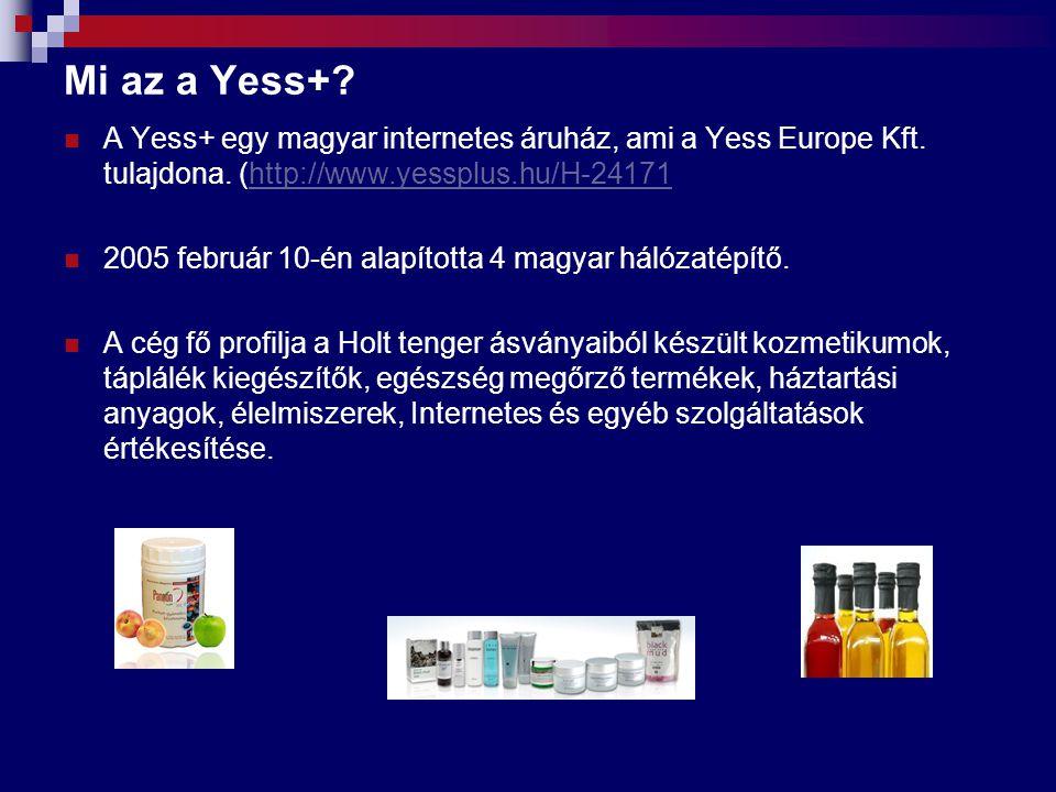 Mi az a Yess+? A Yess+ egy magyar internetes áruház, ami a Yess Europe Kft. tulajdona. (http://www.yessplus.hu/H-24171http://www.yessplus.hu/H-24171 2