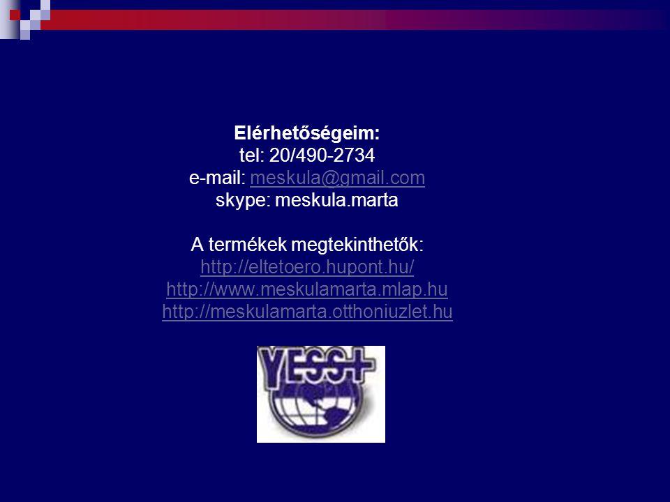Elérhetőségeim: tel: 20/490-2734 e-mail: meskula@gmail.com skype: meskula.marta A termékek megtekinthetők: http://eltetoero.hupont.hu/ http://www.mesk