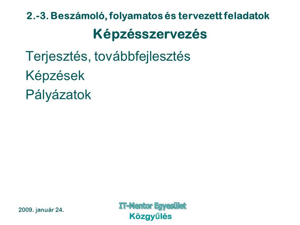 2.-3. Beszámoló, folyamatos és tervezett feladatok 2009. január 24. Közgyűlés Képzésszervezés Terjesztés, továbbfejlesztés Képzések Pályázatok