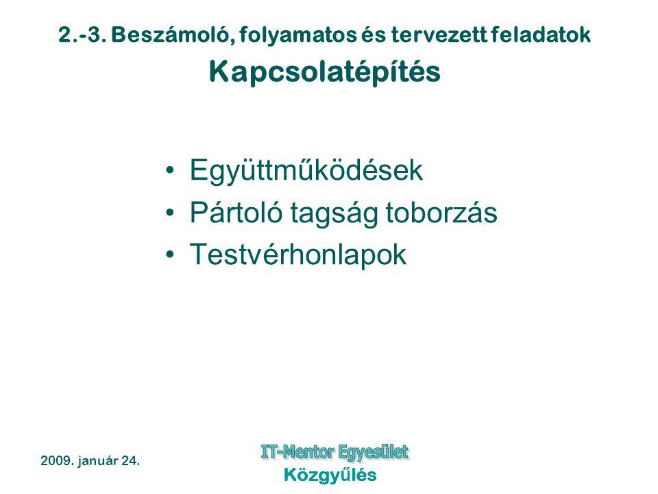 2.-3. Beszámoló, folyamatos és tervezett feladatok 2009. január 24. Közgyűlés Kapcsolatépítés Együttműködések Pártoló tagság toborzás Testvérhonlapok