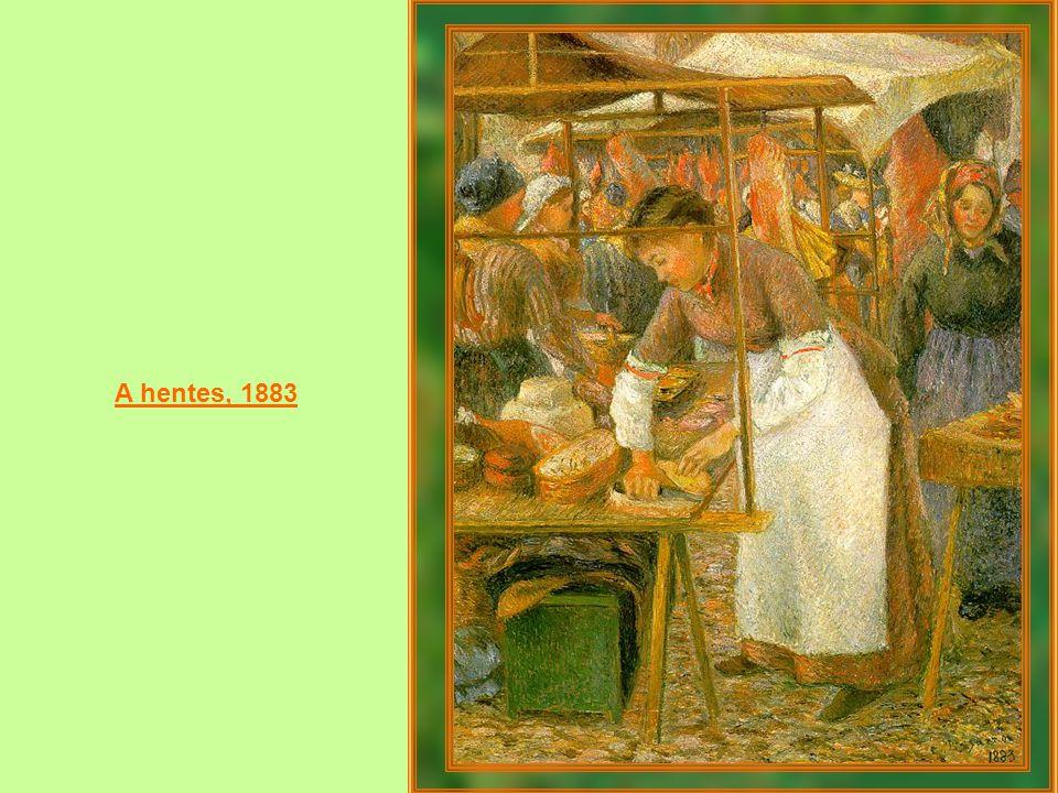 Madame Pissarro portréja a varrógép mellett 1878-79