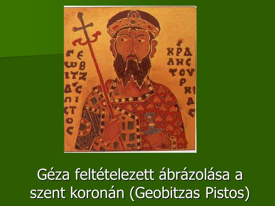 Géza feltételezett ábrázolása a szent koronán (Geobitzas Pistos)