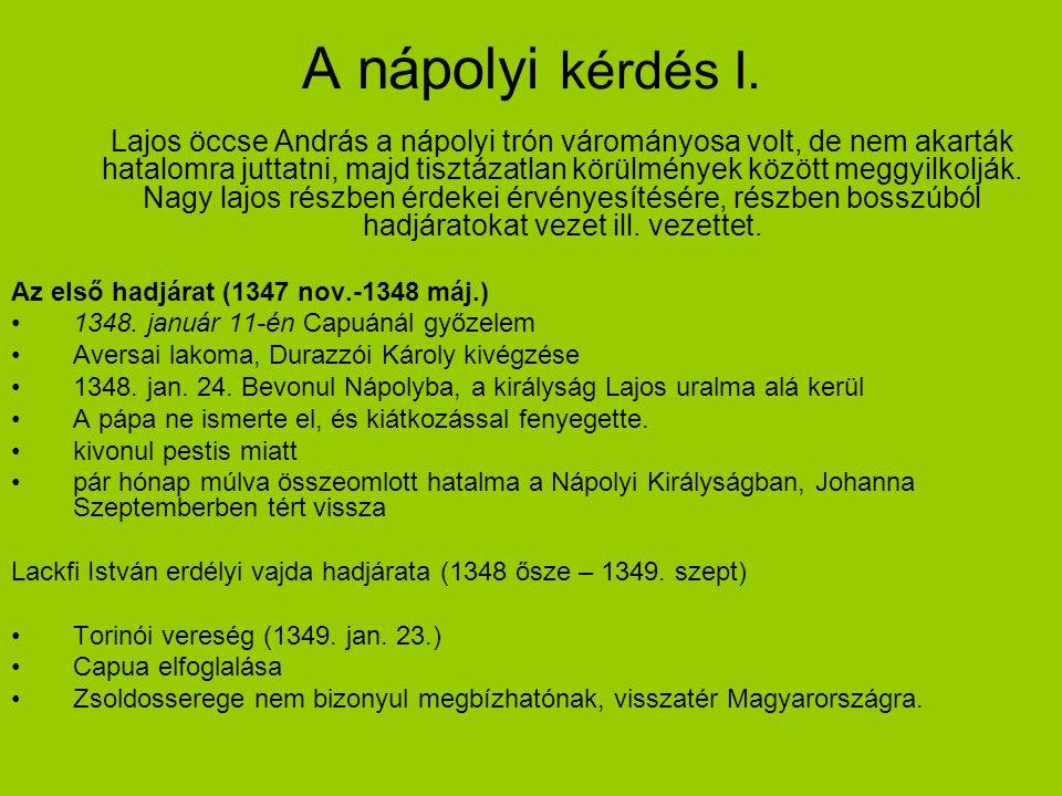 A nápolyi kérdés I. Lajos öccse András a nápolyi trón várományosa volt, de nem akarták hatalomra juttatni, majd tisztázatlan körülmények között meggyi