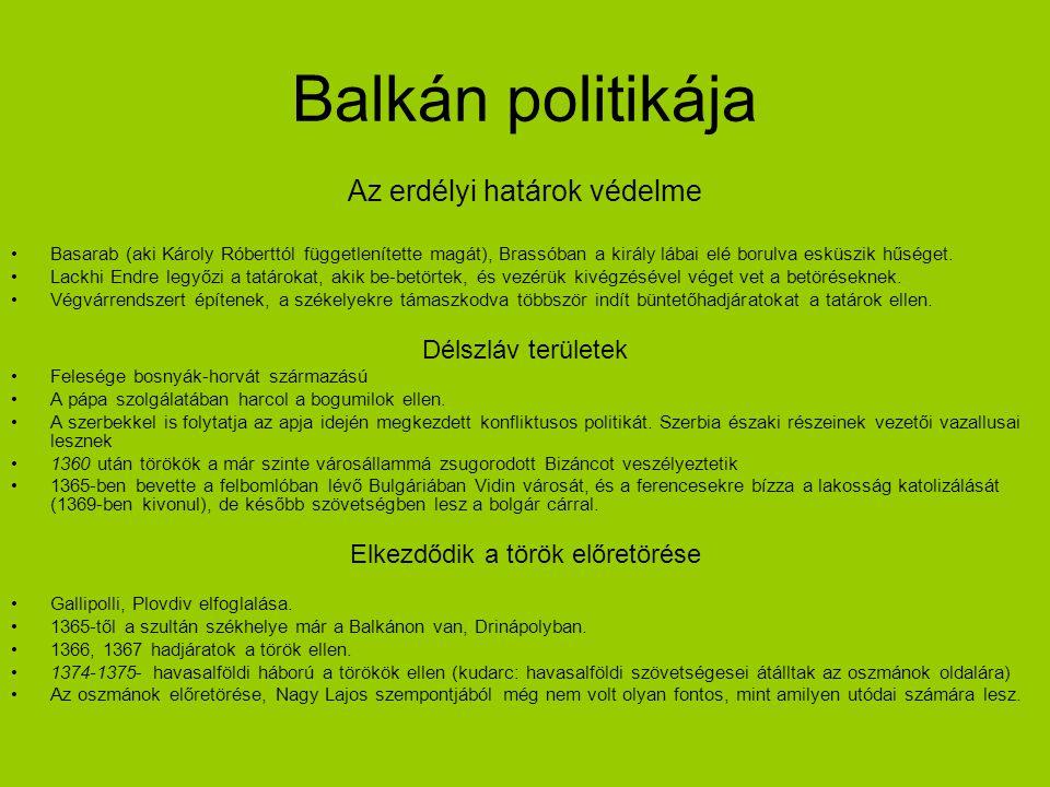 Balkán politikája Az erdélyi határok védelme Basarab (aki Károly Róberttól függetlenítette magát), Brassóban a király lábai elé borulva esküszik hűség