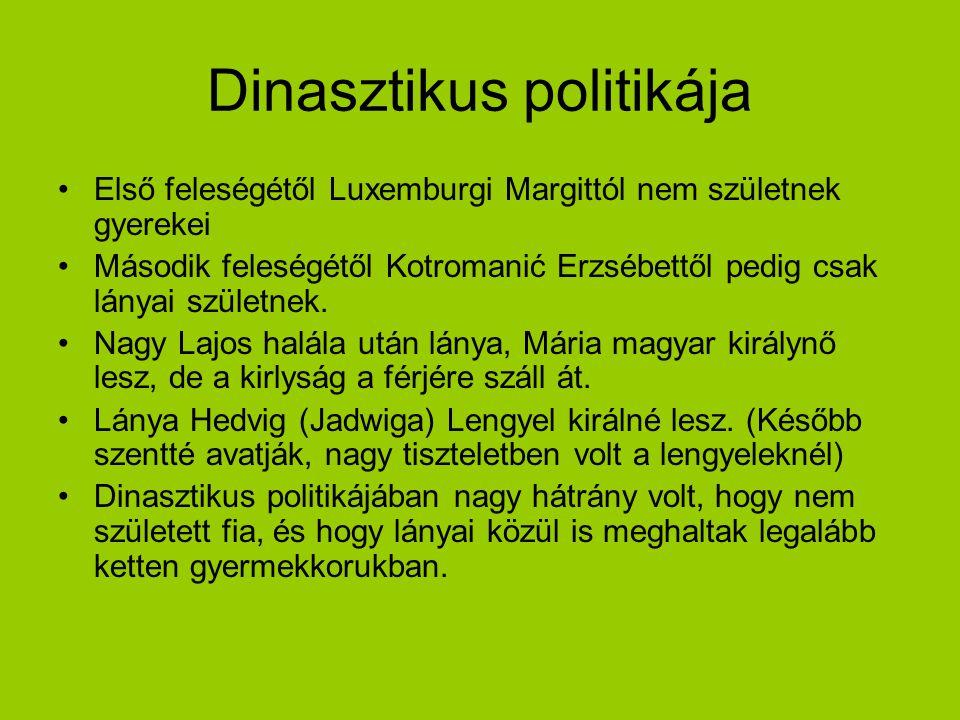 Dinasztikus politikája Első feleségétől Luxemburgi Margittól nem születnek gyerekei Második feleségétől Kotromanić Erzsébettől pedig csak lányai szüle
