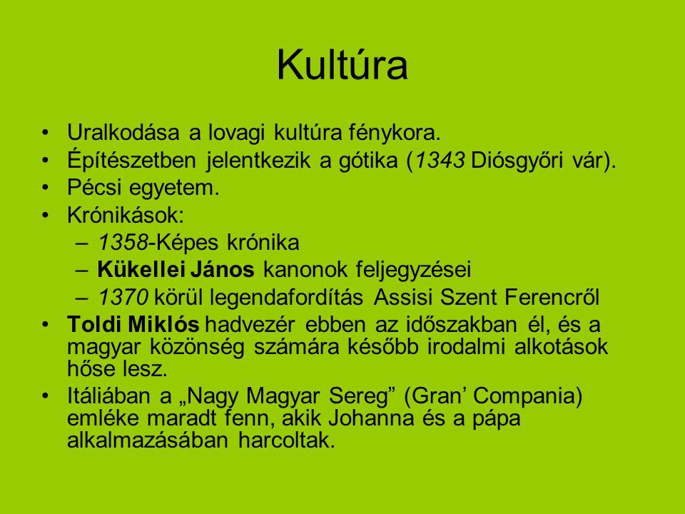 Kultúra Uralkodása a lovagi kultúra fénykora. Építészetben jelentkezik a gótika (1343 Diósgyőri vár). Pécsi egyetem. Krónikások: –1358-Képes krónika –