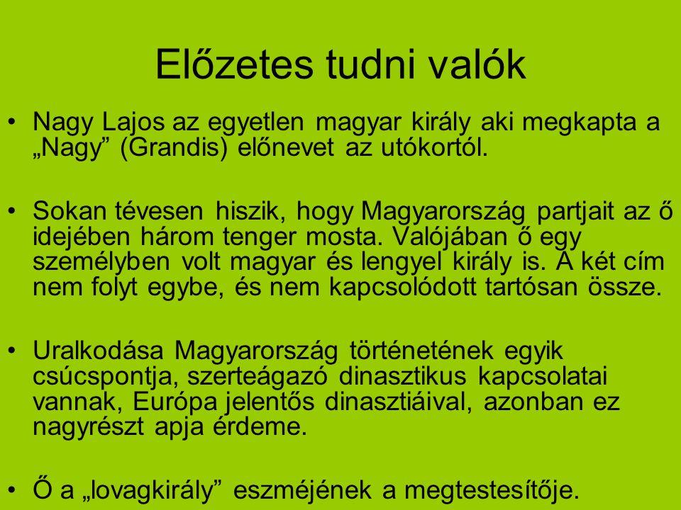 """Előzetes tudni valók Nagy Lajos az egyetlen magyar király aki megkapta a """"Nagy"""" (Grandis) előnevet az utókortól. Sokan tévesen hiszik, hogy Magyarorsz"""
