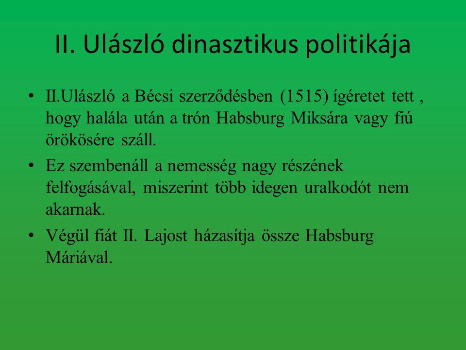 II. Ulászló dinasztikus politikája II.Ulászló a Bécsi szerződésben (1515) ígéretet tett, hogy halála után a trón Habsburg Miksára vagy fiú örökösére s