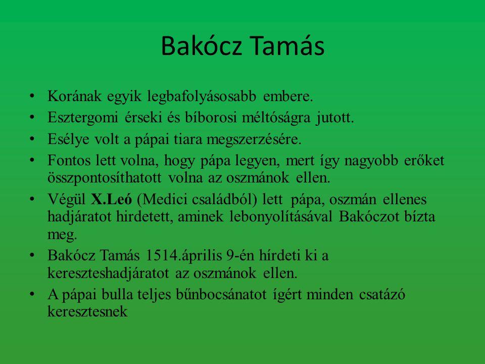 Bakócz Tamás Korának egyik legbafolyásosabb embere. Esztergomi érseki és bíborosi méltóságra jutott. Esélye volt a pápai tiara megszerzésére. Fontos l