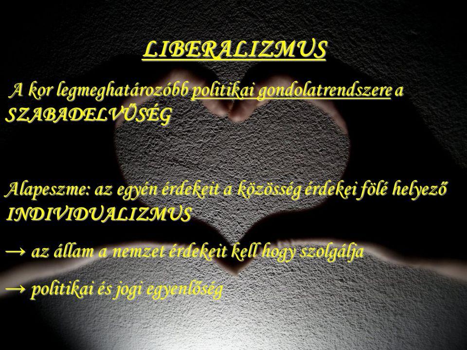 LIBERALIZMUS A kor legmeghatározóbb politikai gondolatrendszere a SZABADELVŰSÉG A kor legmeghatározóbb politikai gondolatrendszere a SZABADELVŰSÉG Ala