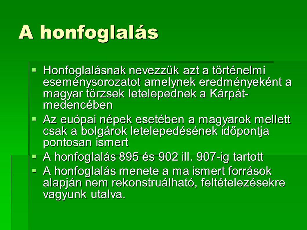 A honfoglalás  Honfoglalásnak nevezzük azt a történelmi eseménysorozatot amelynek eredményeként a magyar törzsek letelepednek a Kárpát- medencében 