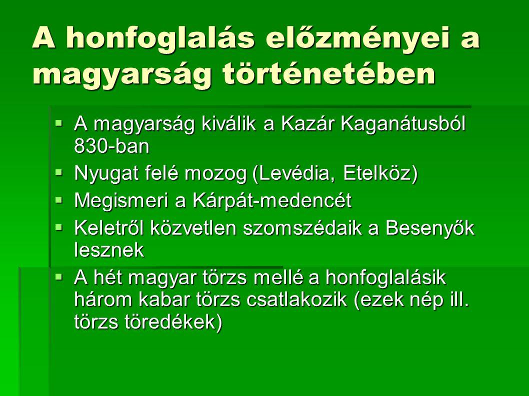 A honfoglalás előzményei a magyarság történetében  A magyarság kiválik a Kazár Kaganátusból 830-ban  Nyugat felé mozog (Levédia, Etelköz)  Megismer