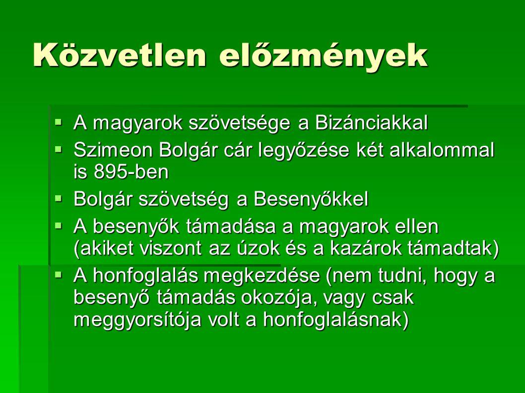 Közvetlen előzmények  A magyarok szövetsége a Bizánciakkal  Szimeon Bolgár cár legyőzése két alkalommal is 895-ben  Bolgár szövetség a Besenyőkkel