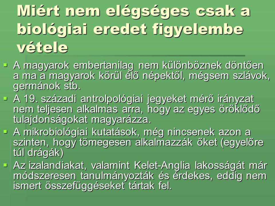 Miért nem elégséges csak a biológiai eredet figyelembe vétele  A magyarok embertanilag nem különböznek döntően a ma a magyarok körül élő népektől, mé