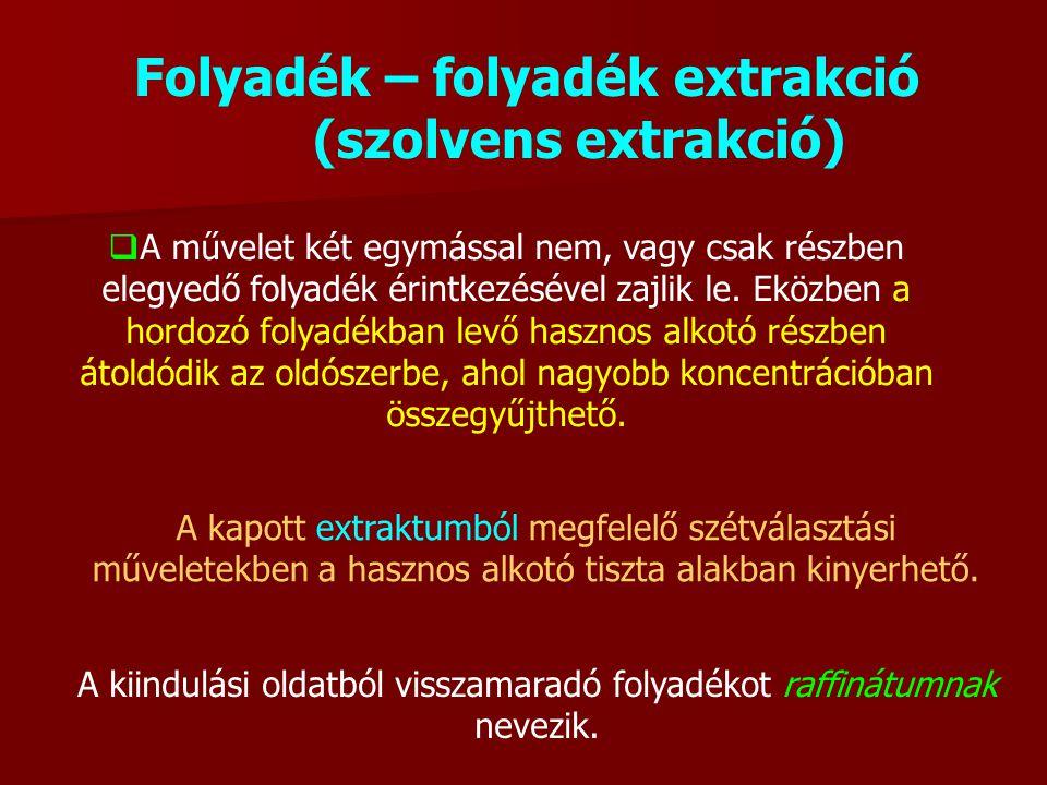 Folyadék – folyadék extrakció (szolvens extrakció)  A művelet két egymással nem, vagy csak részben elegyedő folyadék érintkezésével zajlik le. Eközbe