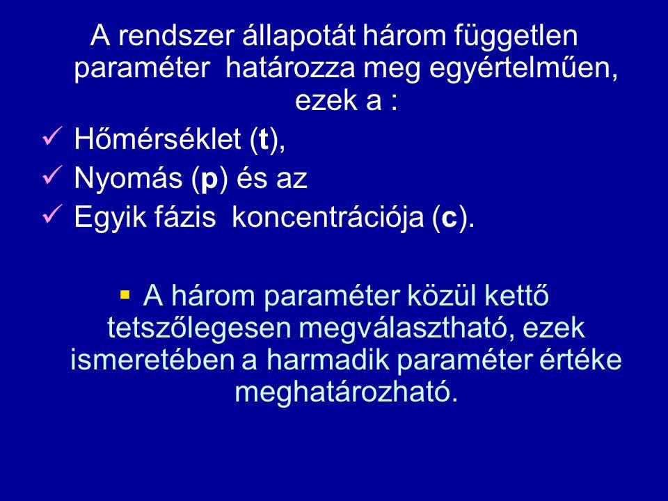 A rendszer állapotát három független paraméter határozza meg egyértelműen, ezek a : Hőmérséklet (t), Nyomás (p) és az Egyik fázis koncentrációja (c).