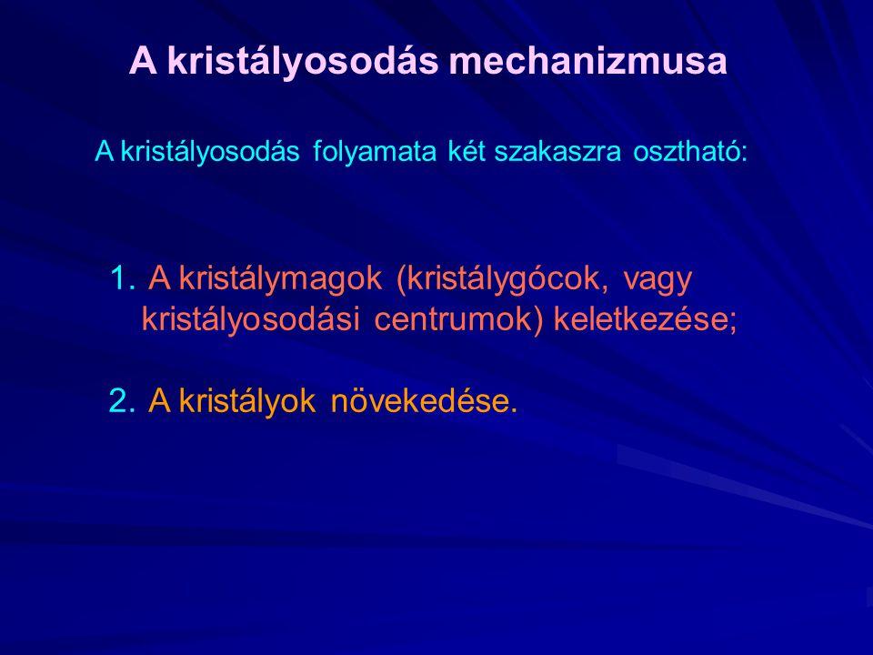 A kristályosodás mechanizmusa A kristályosodás folyamata két szakaszra osztható: 1. A kristálymagok (kristálygócok, vagy kristályosodási centrumok) ke