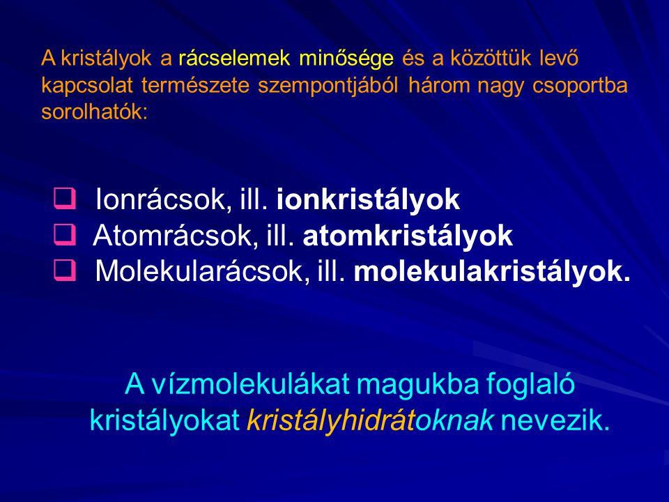 A kristályok a rácselemek minősége és a közöttük levő kapcsolat természete szempontjából három nagy csoportba sorolhatók:  Ionrácsok, ill. ionkristál