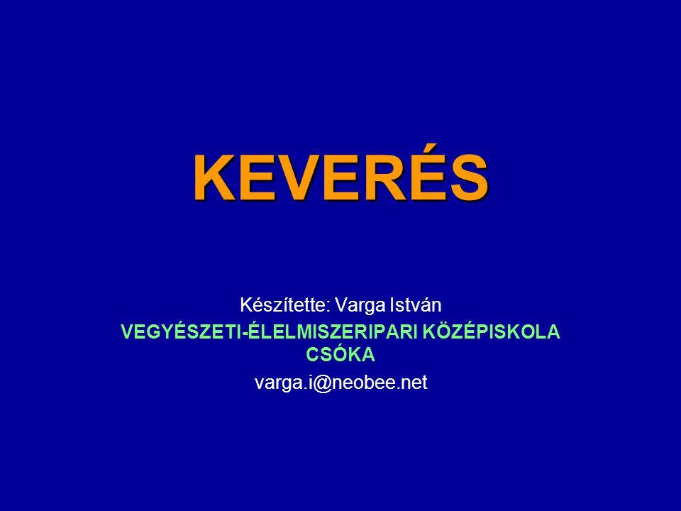 KEVERÉS Készítette: Varga István VEGYÉSZETI-ÉLELMISZERIPARI KÖZÉPISKOLA CSÓKA varga.i@neobee.net