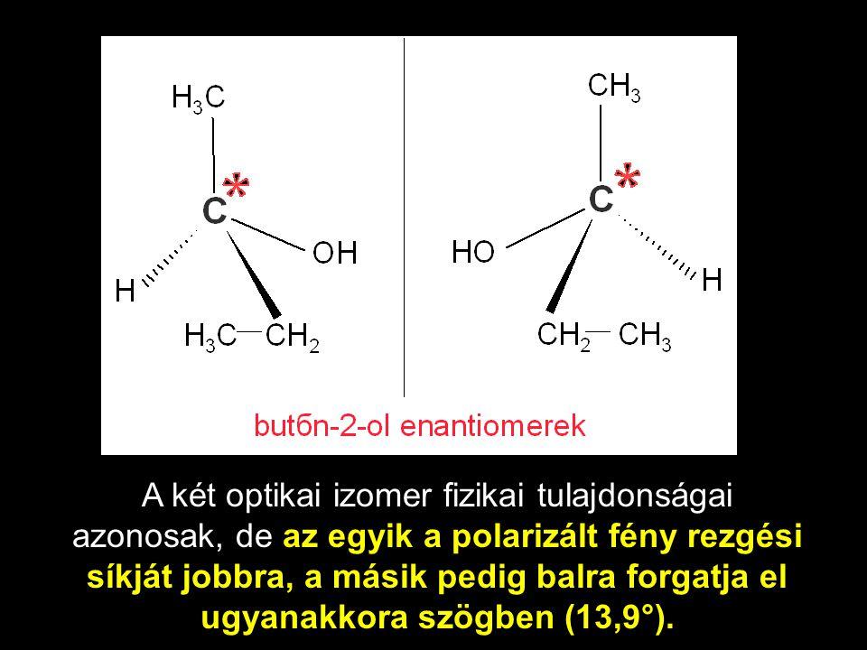 A két optikai izomer fizikai tulajdonságai azonosak, de az egyik a polarizált fény rezgési síkját jobbra, a másik pedig balra forgatja el ugyanakkora