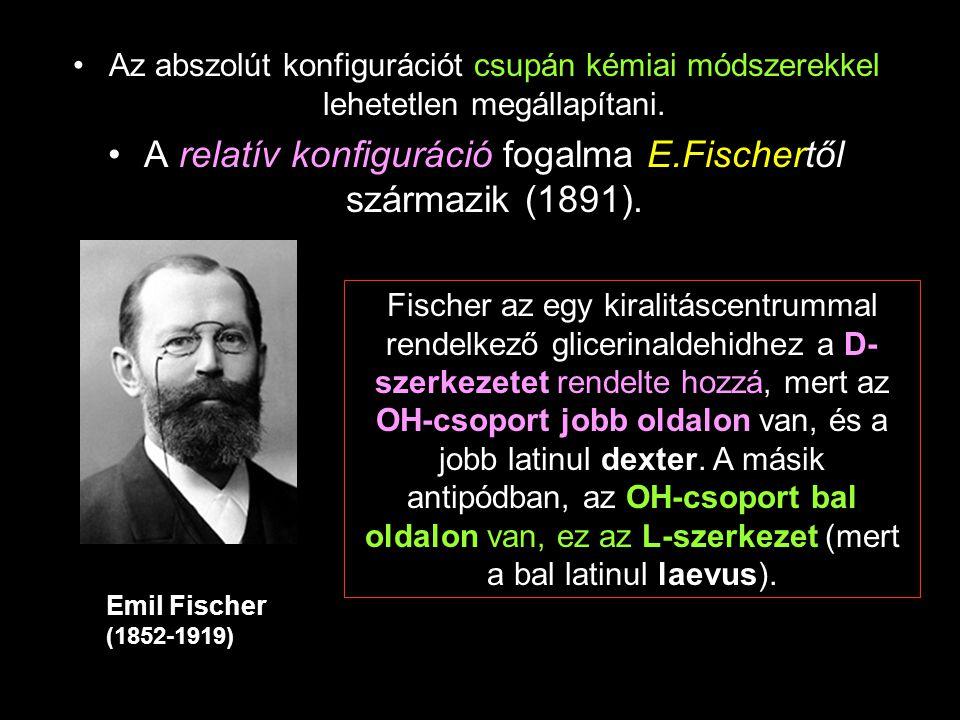 Az abszolút konfigurációt csupán kémiai módszerekkel lehetetlen megállapítani. A relatív konfiguráció fogalma E.Fischertől származik (1891). Fischer a