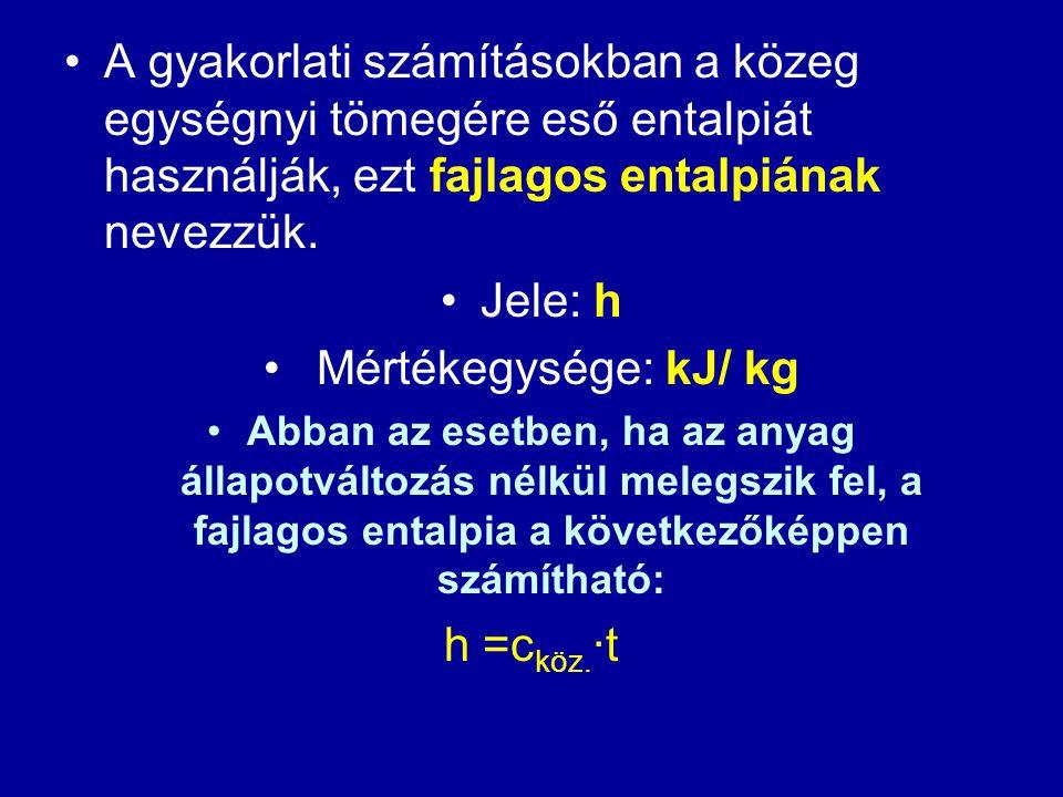 A gyakorlati számításokban a közeg egységnyi tömegére eső entalpiát használják, ezt fajlagos entalpiának nevezzük.