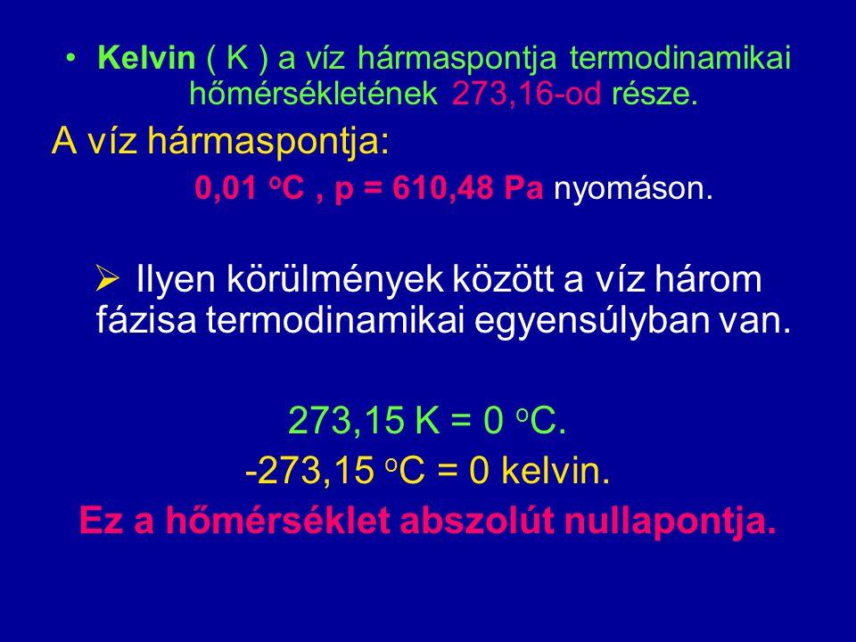 Kelvin ( K ) a víz hármaspontja termodinamikai hőmérsékletének 273,16-od része.