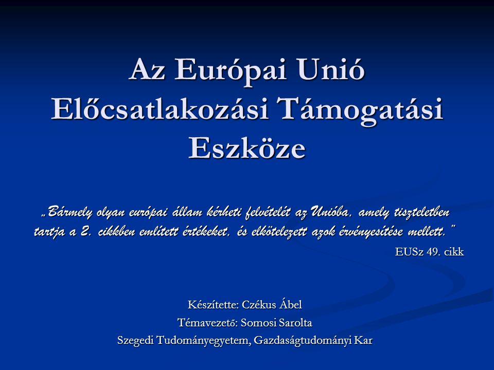 Előcsatlakozási Támogatási Eszköz Az Előcsatlakozási Támogatási Eszköz (IPA) a 2007-2013-as EU költségvetési periódus egyetlen forrása, amely a kedvezményezett országokat az Európai Uniós tagságra készíti fel Az Előcsatlakozási Támogatási Eszköz (IPA) a 2007-2013-as EU költségvetési periódus egyetlen forrása, amely a kedvezményezett országokat az Európai Uniós tagságra készíti fel 11,5 mrd euró 11,5 mrd euró A kedvezményezett országok két csoportja: A kedvezményezett országok két csoportja: Tagjelöltek: Horvátország, Macedónia, Törökország Tagjelöltek: Horvátország, Macedónia, Törökország Potenciálisan tagjelölt Nyugat-balkáni országok: Albánia, Bosznia és Hercegovina, Koszovó, Montenegró, Szerbia Potenciálisan tagjelölt Nyugat-balkáni országok: Albánia, Bosznia és Hercegovina, Koszovó, Montenegró, Szerbia